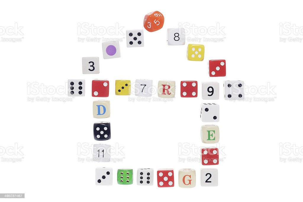 Dice Arranged in Shape of House stock photo