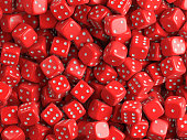 Many casino red dice. 3d illustration.