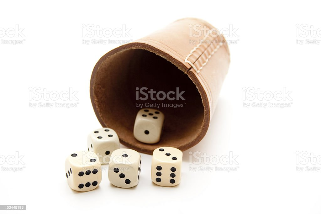 Dice cup from leather stock photo