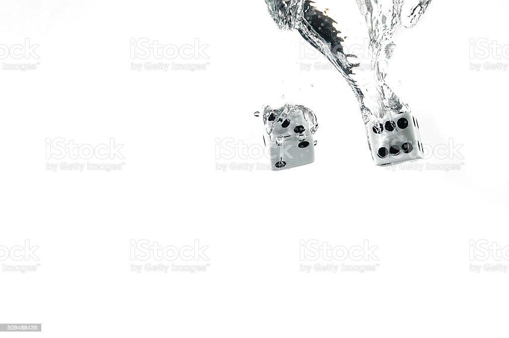 Kości spadła do wody, na białe tło. – zdjęcie