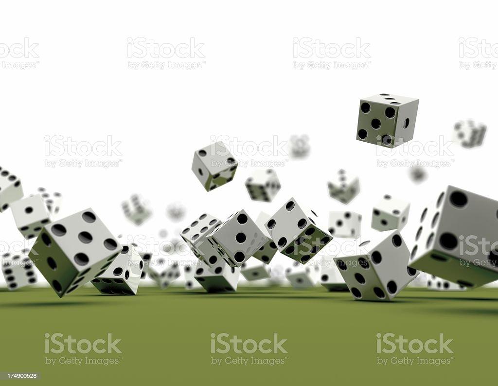 Dice falling (white Background) royalty-free stock photo