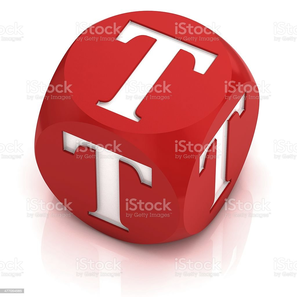 dice font letter T stock photo