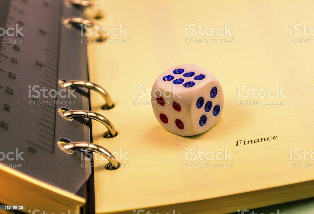 dice on an organizer closeup stock photo
