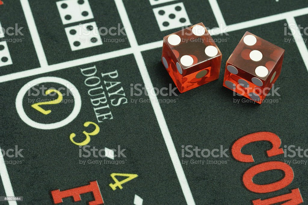Dice on Craps Table Closeup royalty-free stock photo