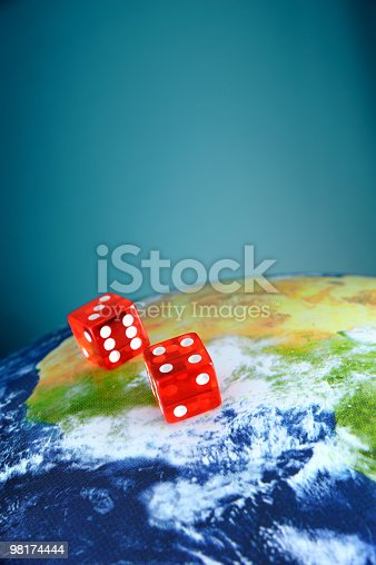 Dice On Planet Earth Stock Photo & More Pictures of Blue