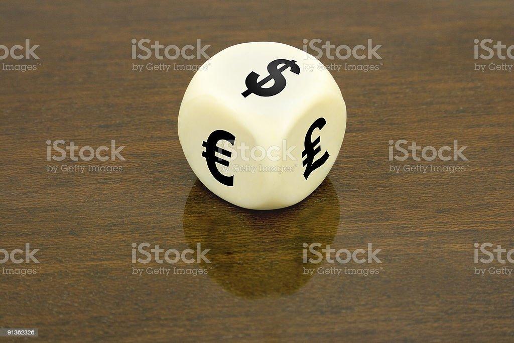 Dice (dollar, euro, pound) royalty-free stock photo