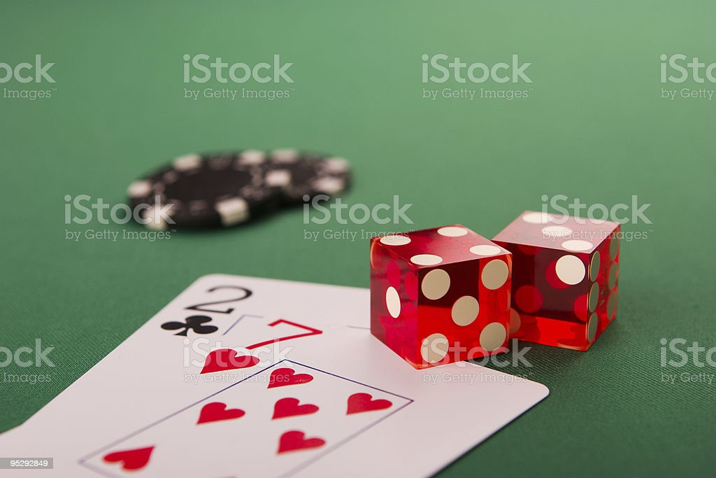 dice, poker cards and chips royalty-free stock photo