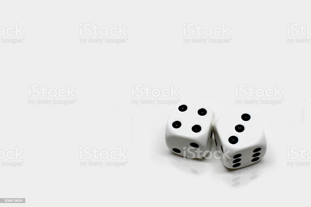 Dice Roll Lucky Seven-Reflection stock photo