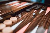 Dice Rolling On Backgammon Board