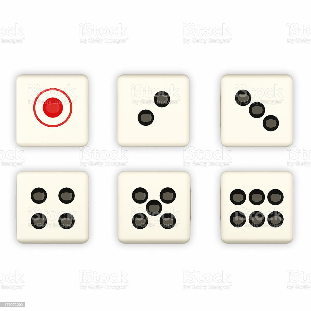 Dice showing 1, 2, 3, 4, 5, and 6 dots stock photo