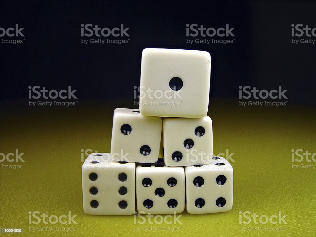 Dice, Stacked Pyramid stock photo