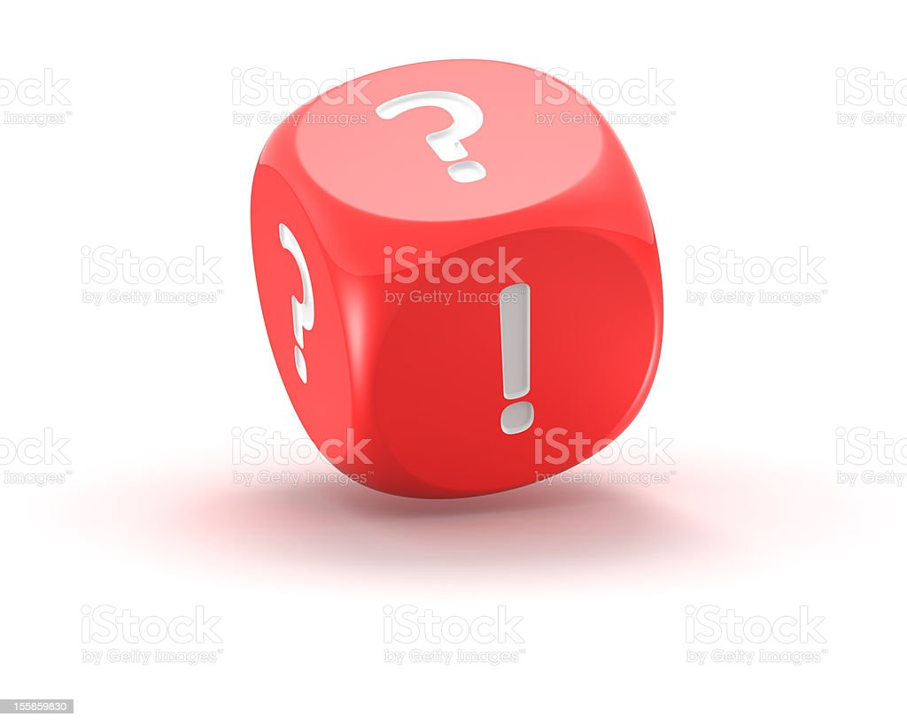 Dice with exclamation and question marks royalty-free stock photo