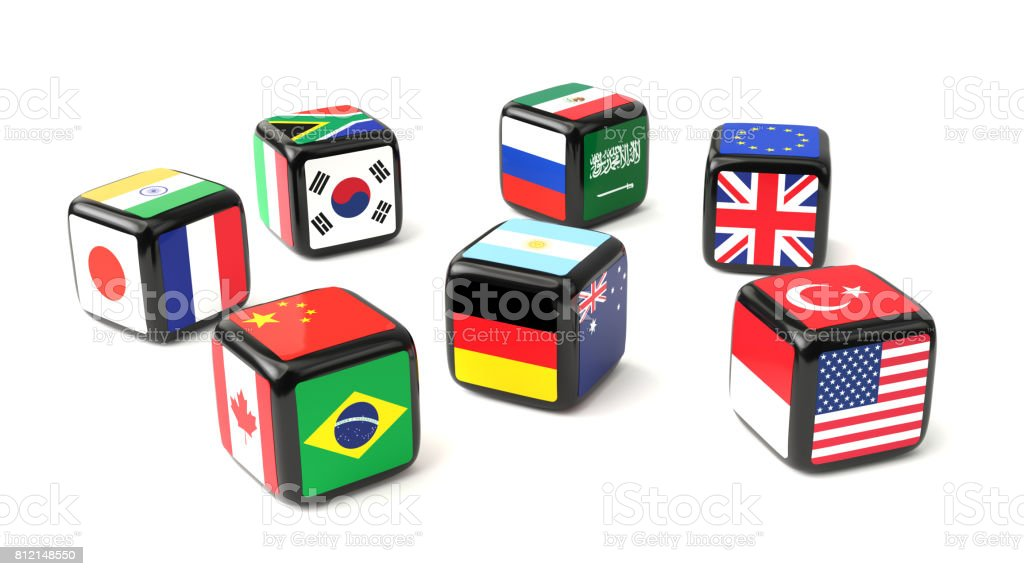 Dice with G20 flags cast stock photo