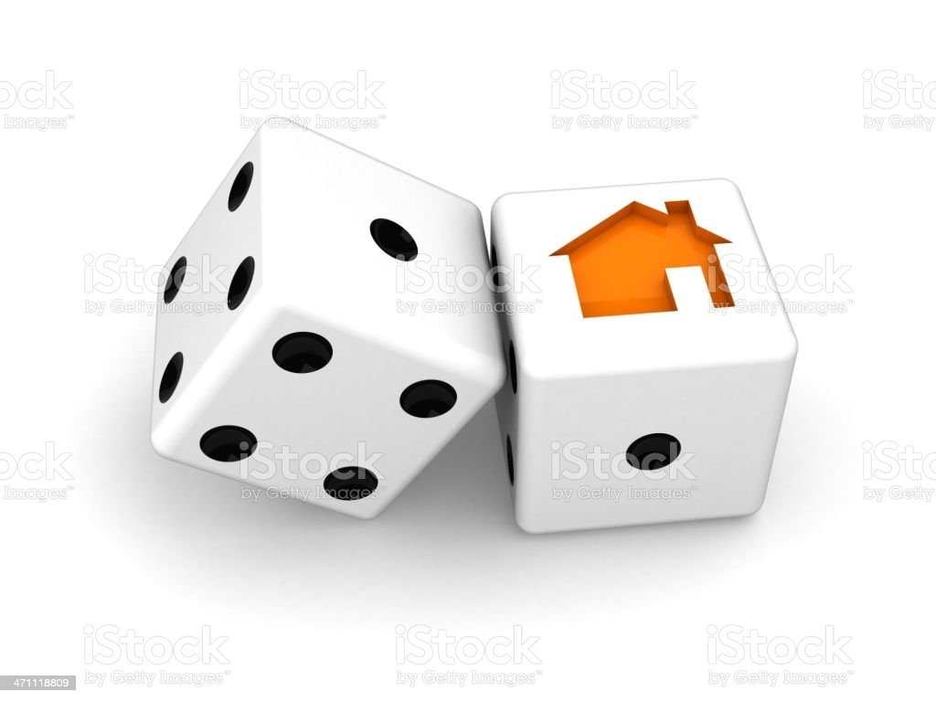Dice with house logo royalty-free stock photo