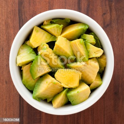 Top view of white bowl full of diced avocado