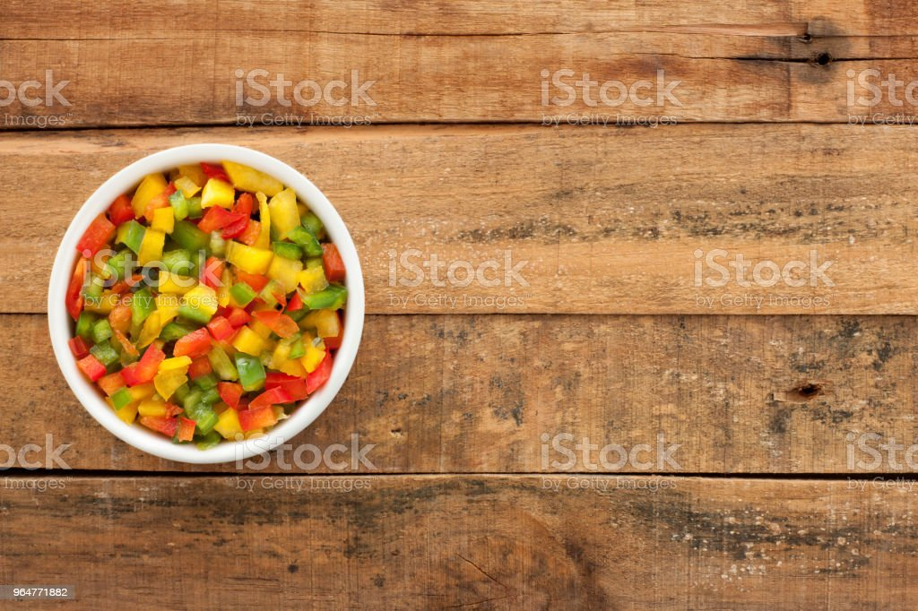 Diced bell peppers mix royalty-free stock photo