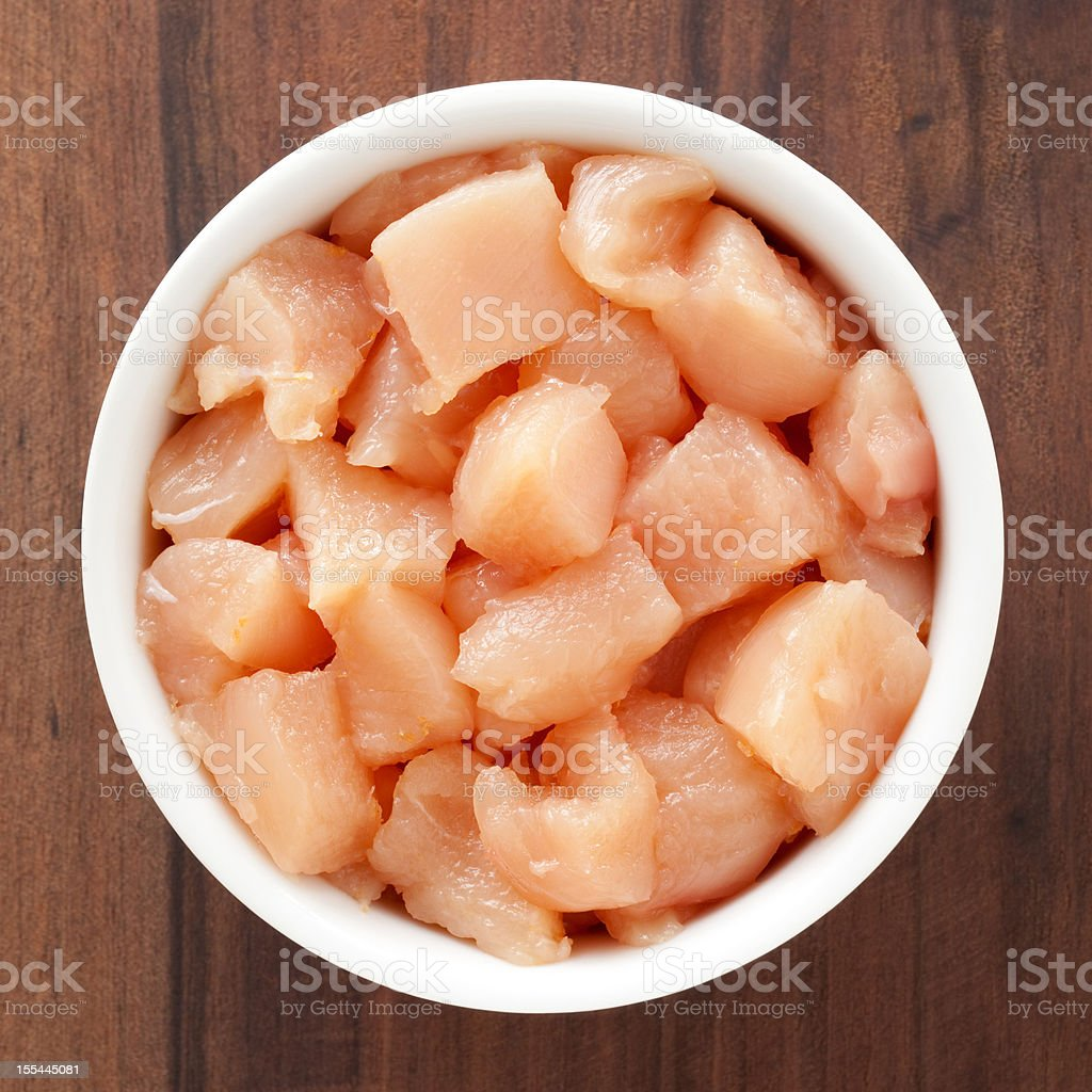 Diced chicken meat stock photo