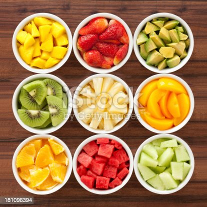 Nine bowls containing different types of chopped fruits