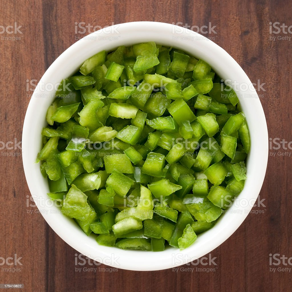 Diced green bell pepper stock photo