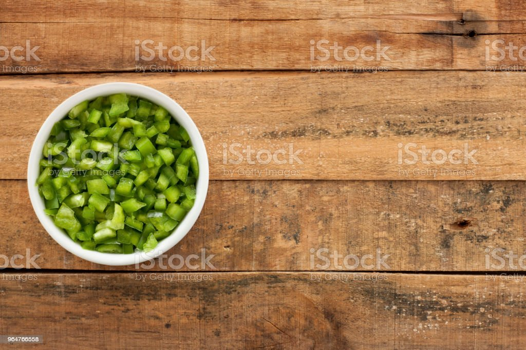 Diced green bell pepper royalty-free stock photo