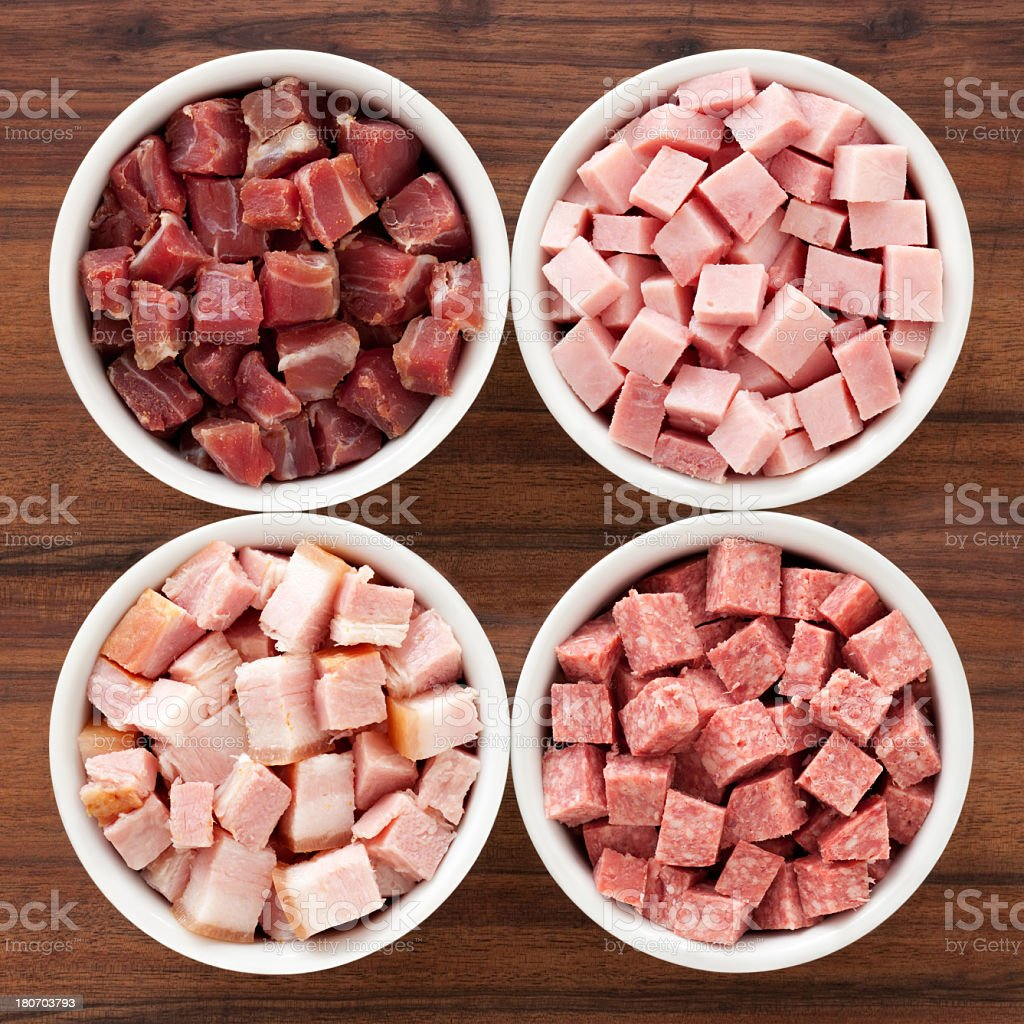 Diced hams stock photo