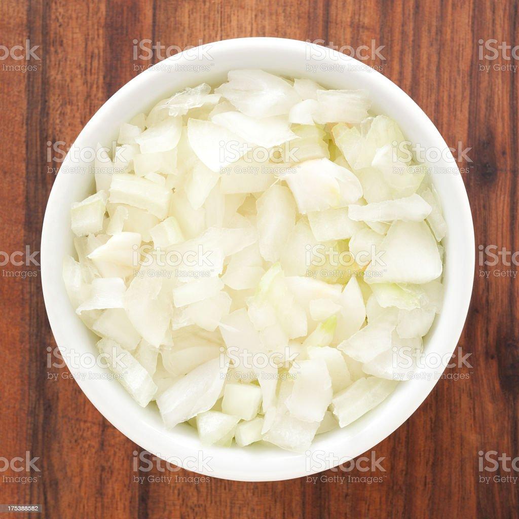 Diced onion - 免版稅俯視圖庫照片
