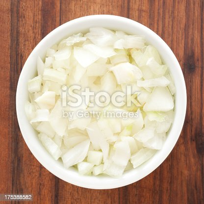 Top view of white bowl full of diced onions