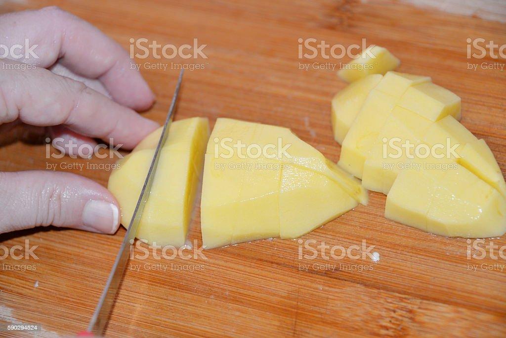Diced potatoes royaltyfri bildbanksbilder