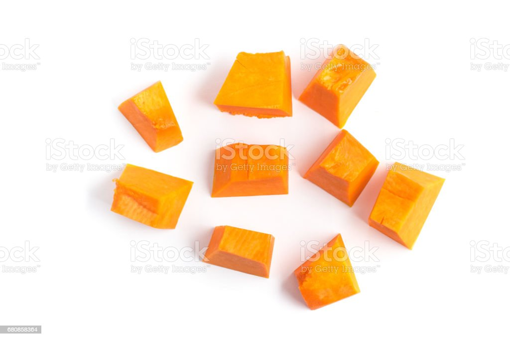 Diced Pumpkin Isolated royalty-free stock photo