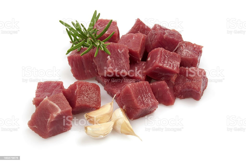 Diced raw meat royalty-free stock photo