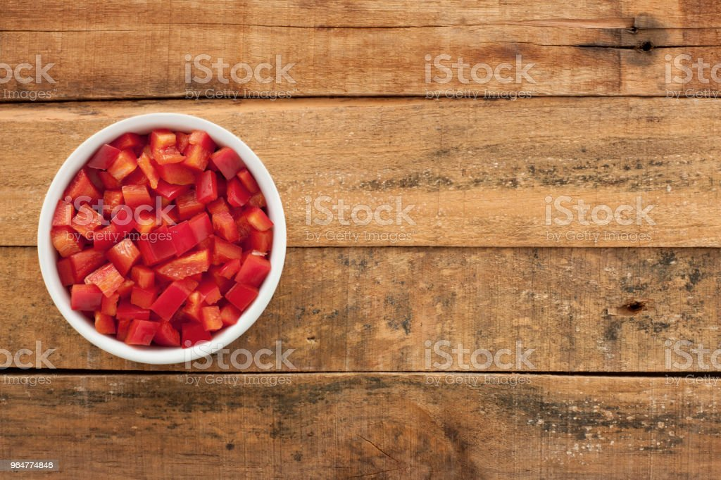 Diced red bell pepper royalty-free stock photo