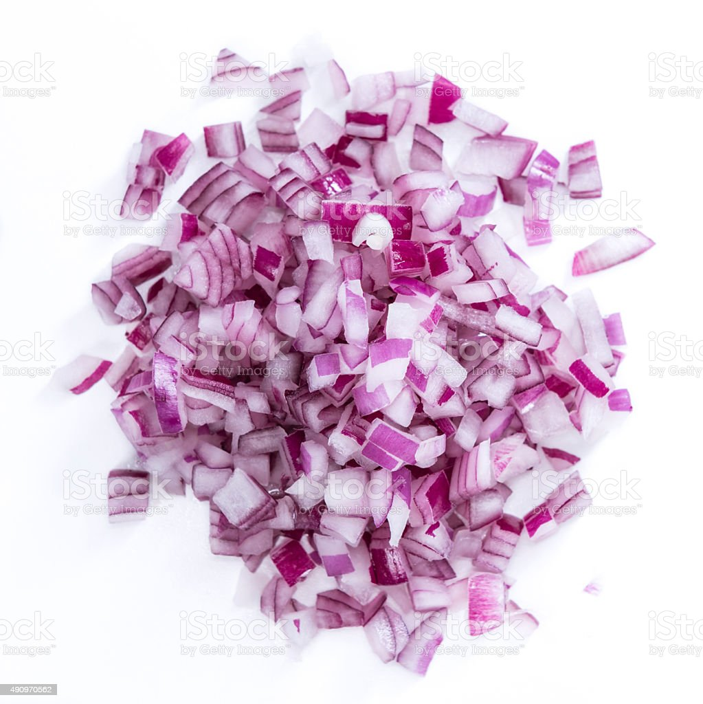 Diced Red Onion (isolated on white) stock photo