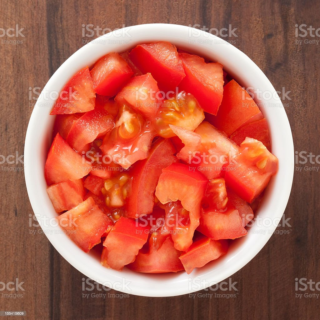 Diced tomato stock photo