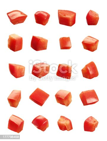 Diced Tomatoes isolated on white background