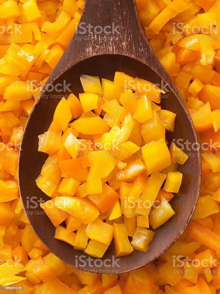 Diced yellow bell pepper stock photo
