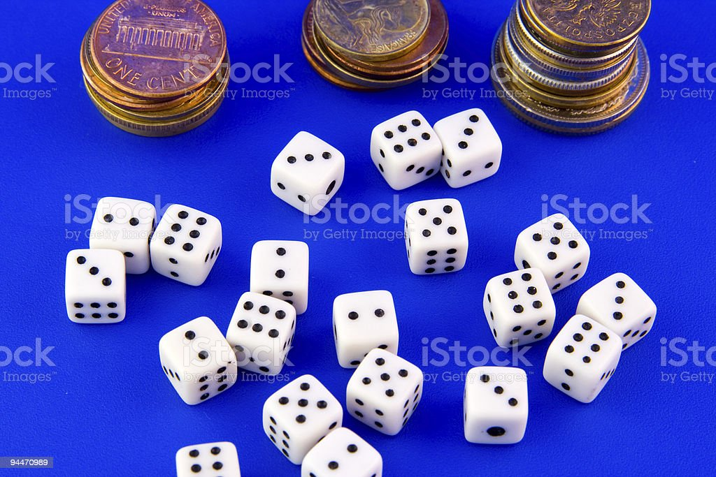 Dices & coins royalty-free stock photo