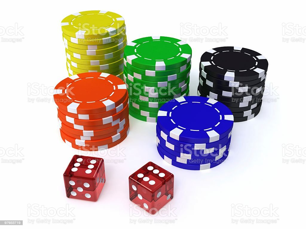 3D dices and chips royalty-free stock photo