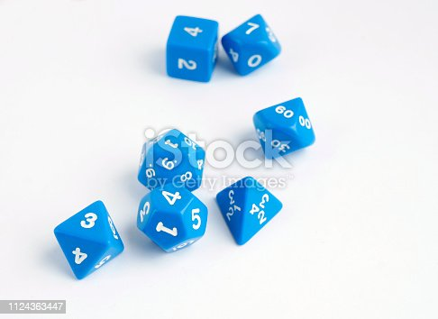 Dices for board, taletop or rpg games. Hobby. Dice for fantasy games.