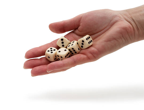 Dices on a hand stock photo