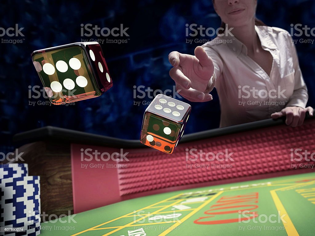 dices throw at casino stock photo