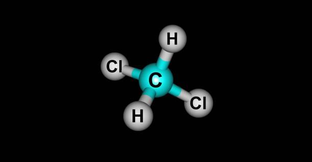Dichloromethane molecular structure isolated on black – zdjęcie