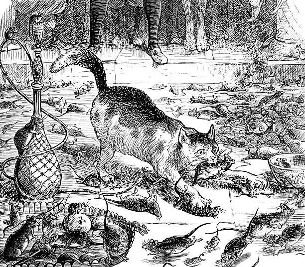 dick whittington's cat catching mice - katze zeichnen stock-fotos und bilder