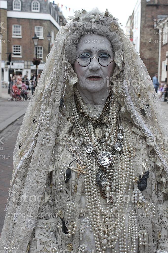 dickens festival bride stock photo