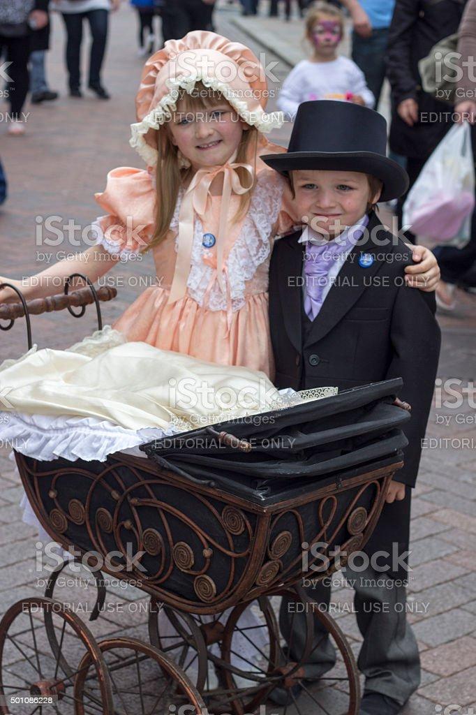 dickens festival children stock photo