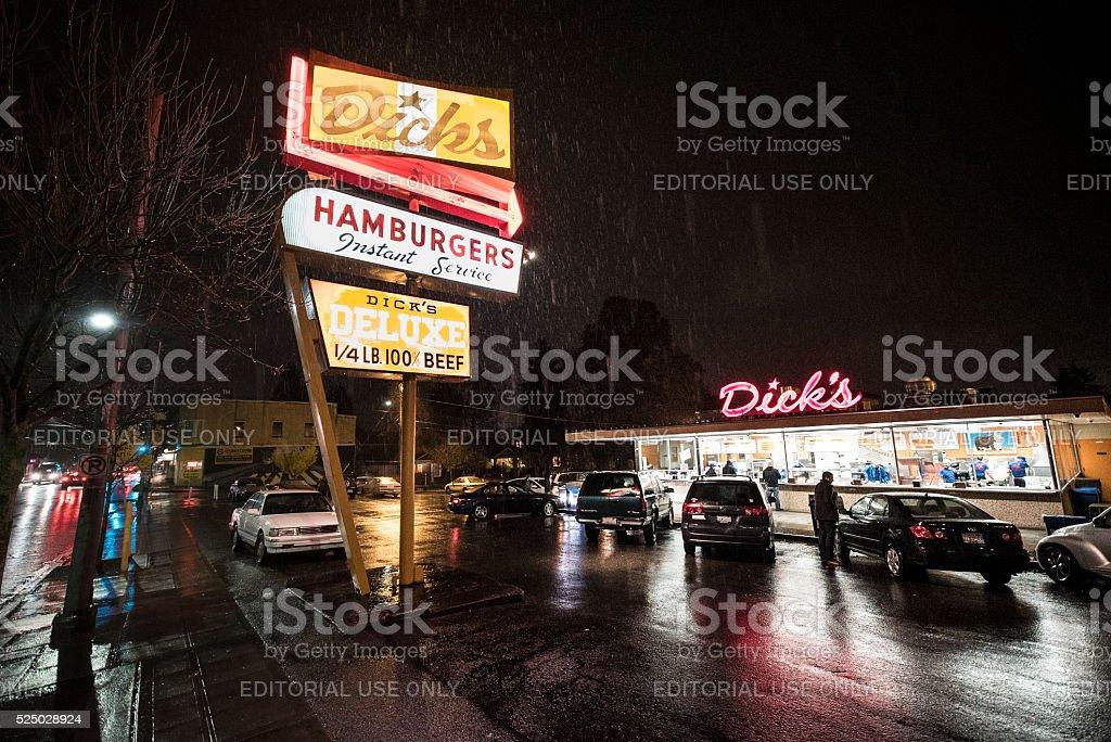 Dick's Hamburgers Original Drive-In Restaurant - Seattle stock photo