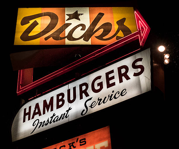 Dick's Hamburgers Original Drive-In Restaurant Sign Seattle Seattle, Washington, USA - November 14, 2015: Dick's Hamburgers original restaurant opened in 1954 in Seattle's Wallingford neighborhood, on N.E. 45th Street  Dick stock pictures, royalty-free photos & images