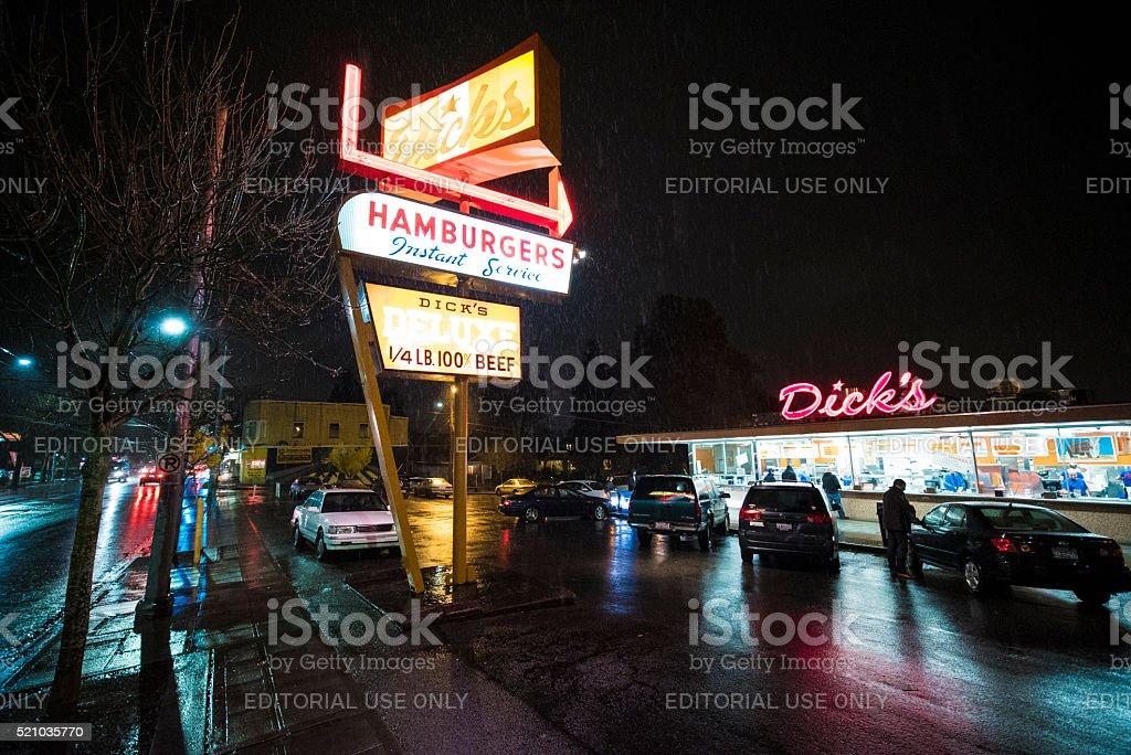 Dick's Hamburgers original restaurant in Seattle stock photo