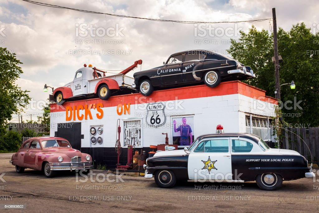 Dick's Towing roadside attraction in the US Route 66 in Joliet, Illinois, USA stock photo