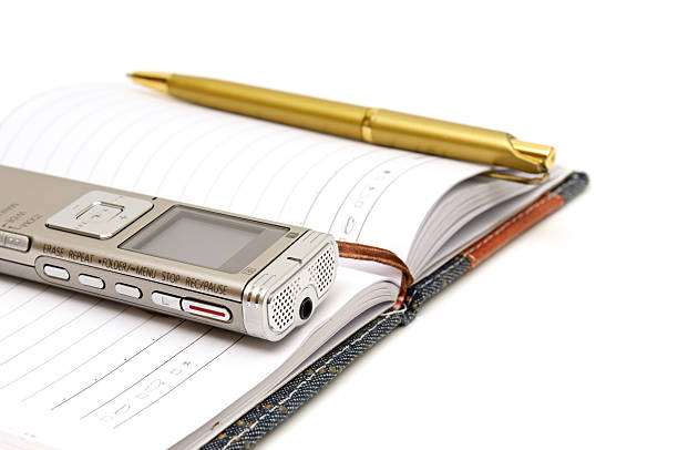 dictaphone, notepad and ballpen - dictaphone stock pictures, royalty-free photos & images