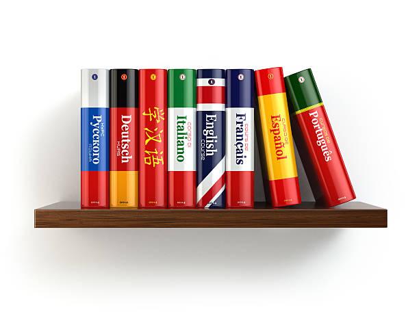 wörterbücher auf dem bücherregal isoliert weißen backgound. - spanisch translator stock-fotos und bilder